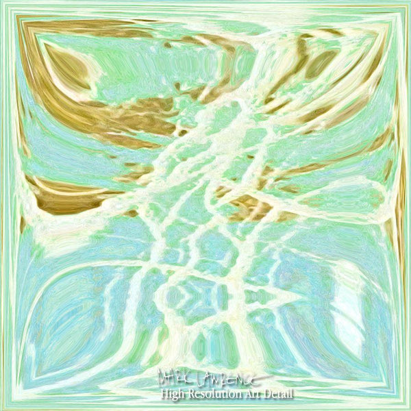 Detail- Contemporary Art | Abstract Aqua Beach Tiles Panoramic Painting | Signed Limited Edition