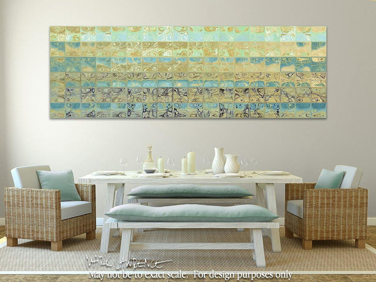 Room View- Contemporary Art | Abstract Aqua Beach Tiles Panoramic Painting | Signed Limited Edition