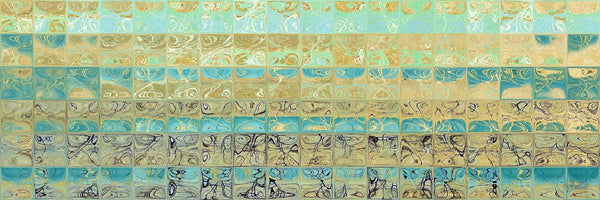 Contemporary Art | Abstract Aqua Beach Tiles Panoramic Painting | Signed Limited Edition