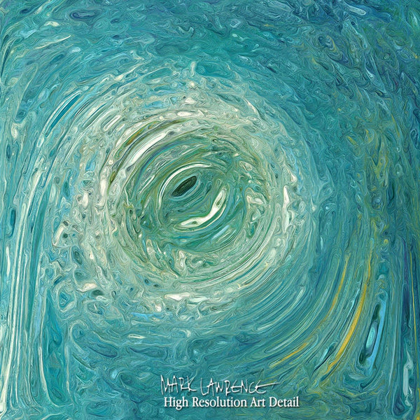 Painting Detail-Aqua-Green Texture Flow 1. Traditional Fine Art. Original limited edition signed canvas and paper giclees by internationally collected artist Mark Lawrence