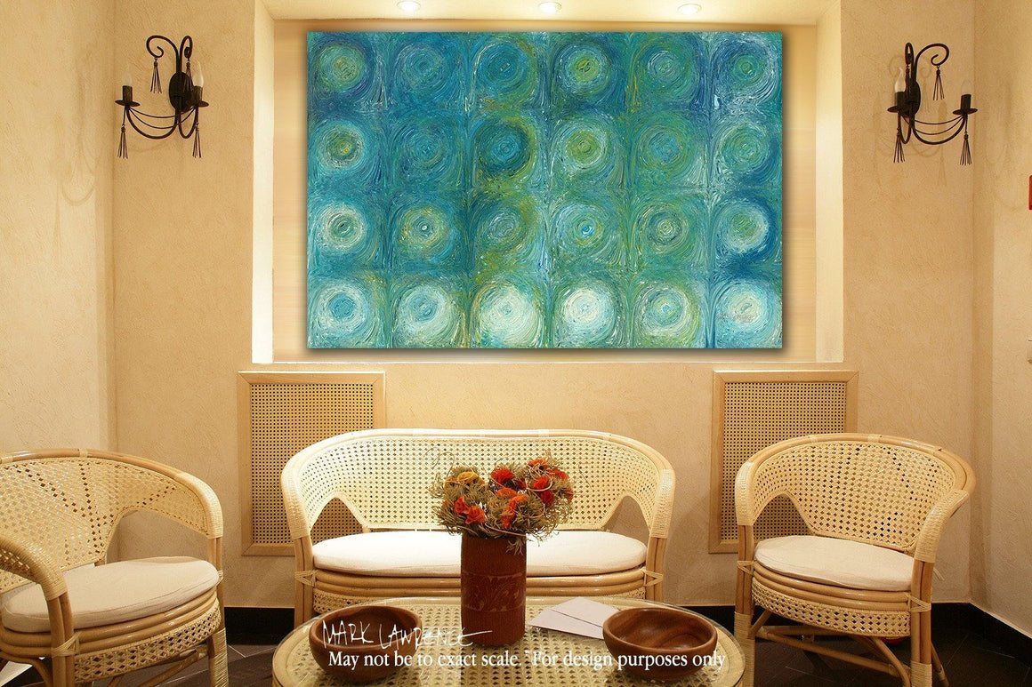 Desigher Room Art Inspiration-Aqua-Green Texture Flow 1. Traditional Fine Art. Original limited edition signed canvas and paper giclees by internationally collected artist Mark Lawrence