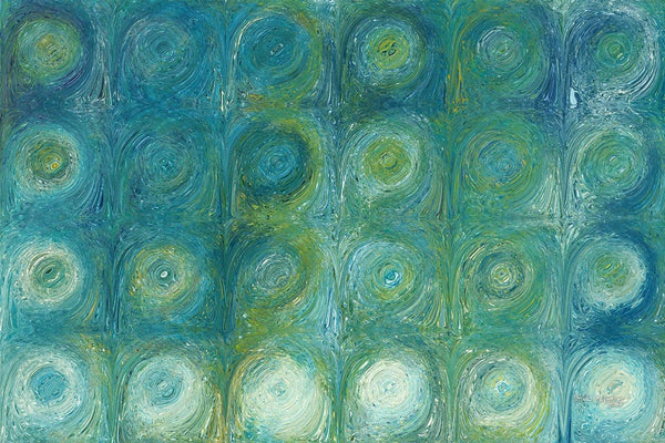 Aqua-Green Texture Flow 1 | Modern Abstract Painting