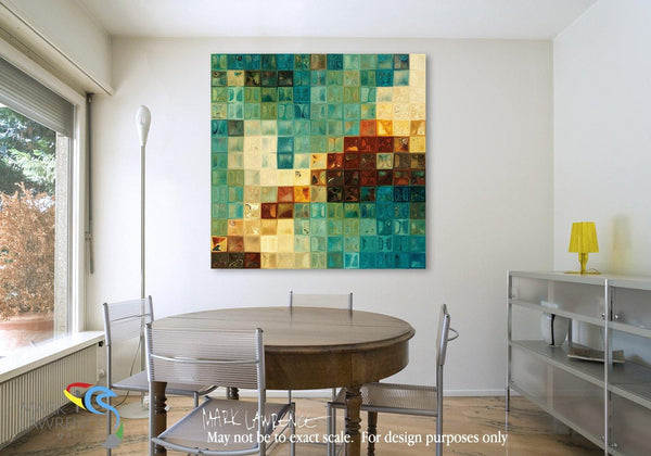 Desigher Room Art Inspiration-Aqua Tile Mosaic. Limited Edition Christian themed art. Sacred hand embellished with brush strokes signed/numbered modern abstracts.