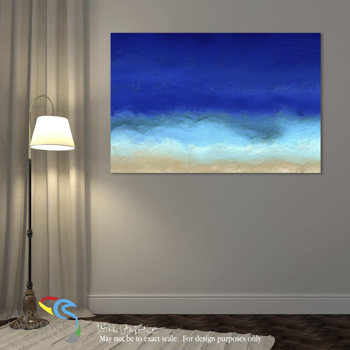 Interior Design Focal Art Inspiration-Large Painting Detail-Beach Scene 8. Aqua Beach Blues. Original large format limited edition signed canvas & paper giclees by internationally collected artist Mark Lawrence