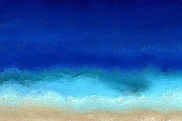 Beach Scene 8. Aqua Beach Blues. Original large format limited edition signed canvas & paper giclees by internationally collected artist Mark Lawrence
