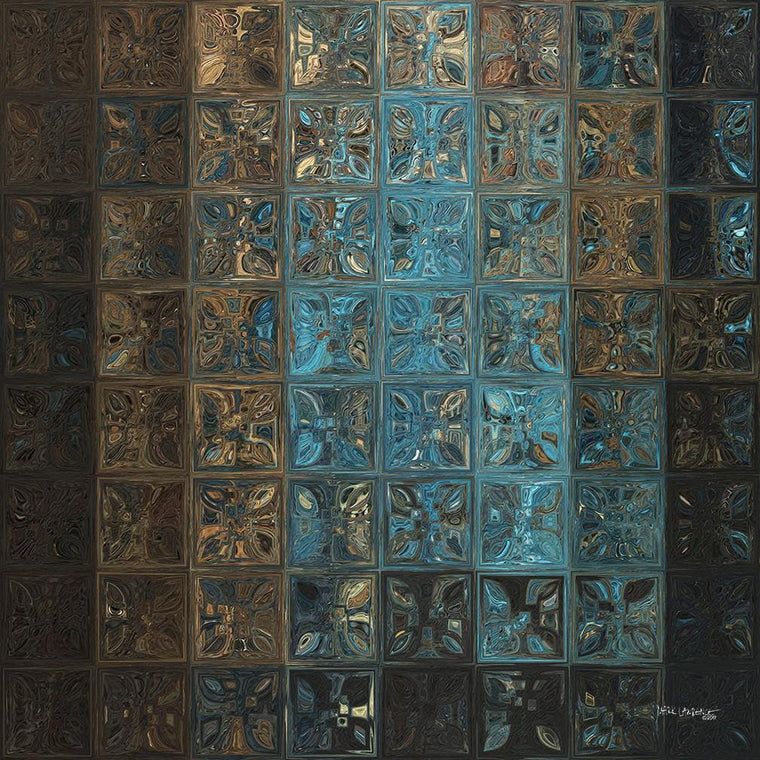 Blue Crystal Oasis Tile Mosaic. Ultra hand embellished and textured with bold brush strokes. Signed and Numbered contemporary abstract art by Mark Lawrence.