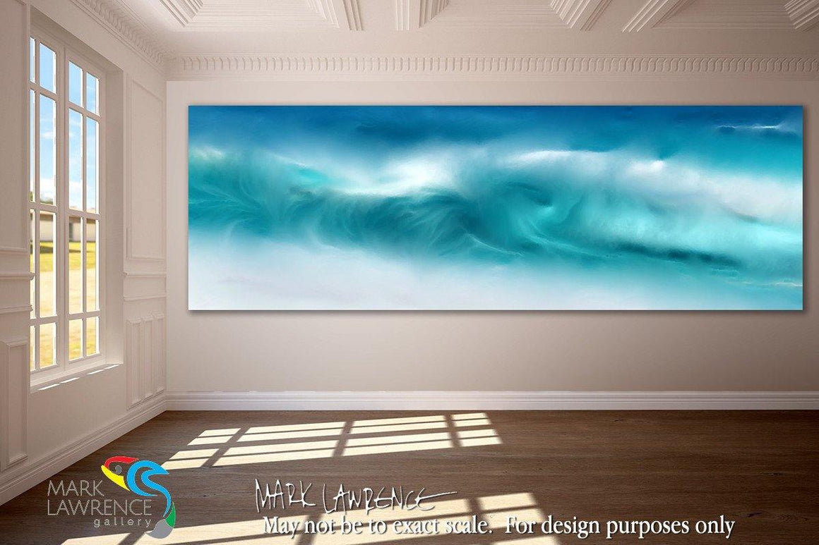 Interior Design Focal Art Inspiration-Blue Ocean Waves On The Beach Panoramic. Original limited edition signed & numbered canvas and paper giclees by internationally collected artist Mark Lawrence