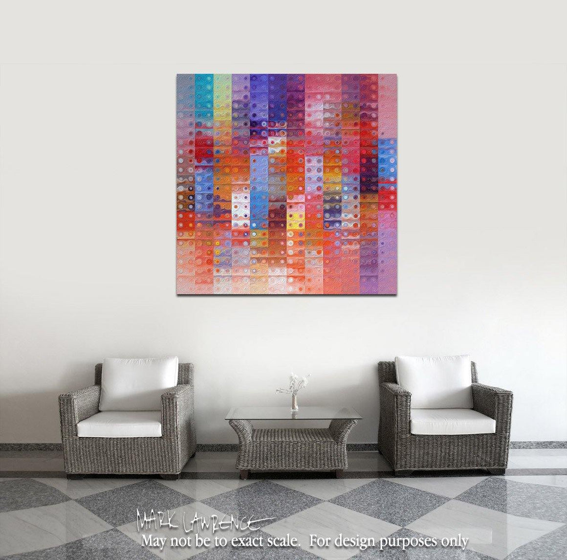 Interior Design Focal Art Inspiration-Circles & Squares #33. Exclusive Traditional Fine Art. Original limited edition signed canvas & paper giclees by internationally collected artist Mark Lawrence