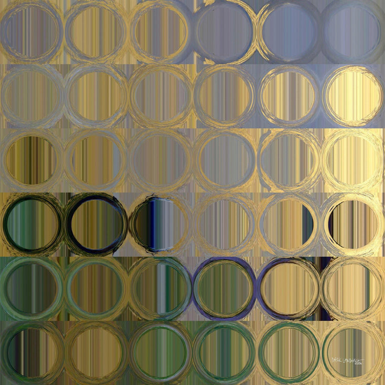 Circles and Squares 50. In Gold Violet. Traditional Fine Art. Original limited edition signed giclees by internationally collected artist Mark Lawrence