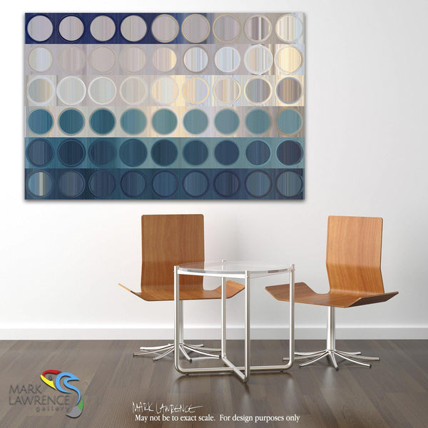 Interior Design Focal Art Inspiration-Circles and Squares #51. Ocean Blues. Traditional Fine Art. Original limited edition signed canvas & paper art by internationally collected artist Mark Lawrence