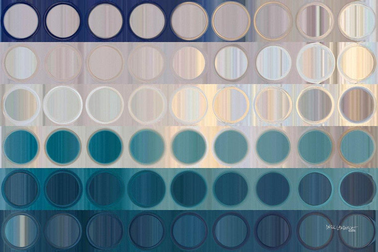 Circles and Squares #51. Ocean Blues. Traditional Fine Art. Original limited edition signed canvas & paper art by internationally collected artist Mark Lawrence