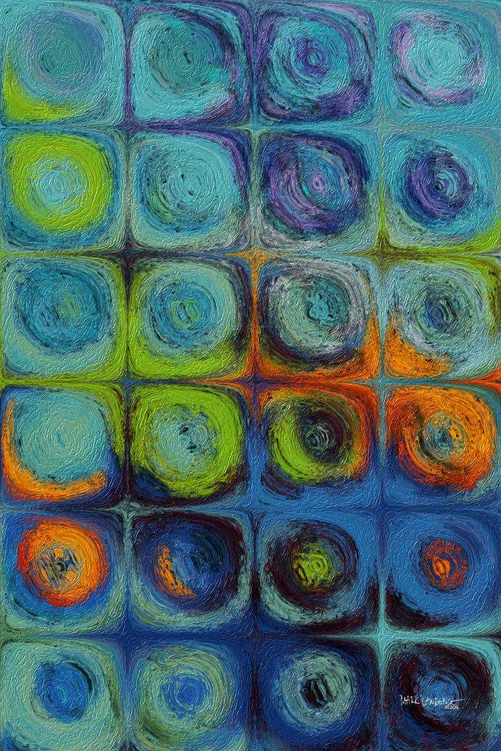 Circles and Squares 52. Textured Aqua Oils. Original limited edition signed canvas & paper giclees by internationally collected artist Mark Lawrence