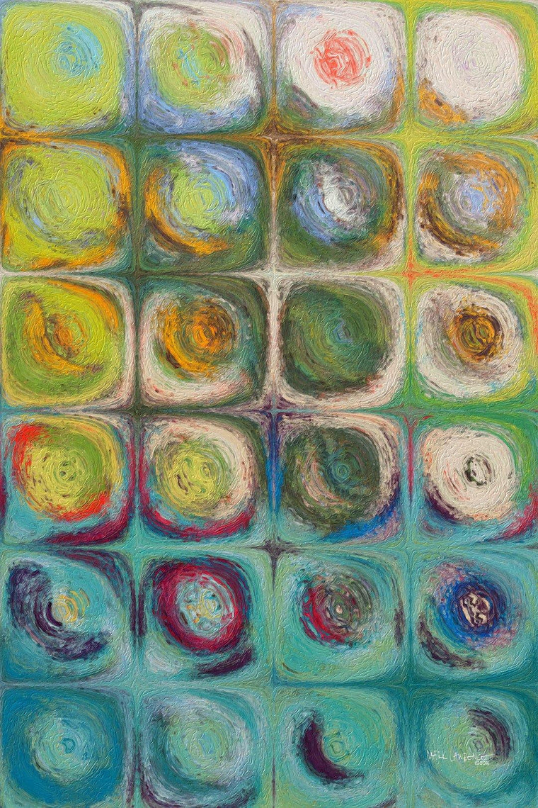 Circles and Squares 54. Textured Green Oils. Original limited edition signed canvas & paper giclees by internationally collected artist Mark Lawrence