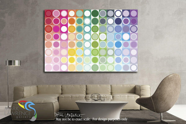 Interior Design Focal Art Inspiration-Circles and Squares 55. Rainbow Joy. Modern Abstract Fine Art. Exclusive original limited edition signed canvas & paper giclees by artist Mark Lawrence.