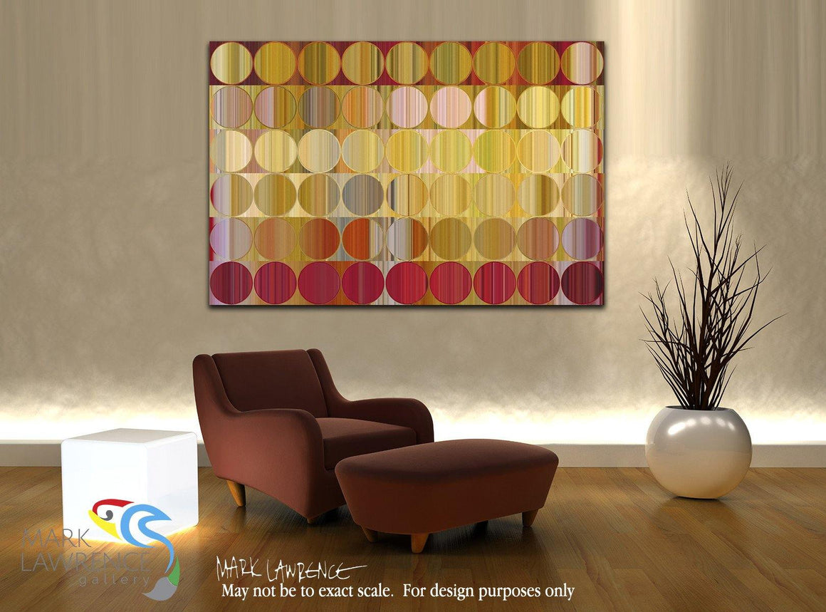 Interior Design Focal Art Inspiration-Circles and Squares 57.Golden Red. Signed & Numbered. Original limited edition signed canvas and paper giclees by internationally collected artist Mark Lawrence