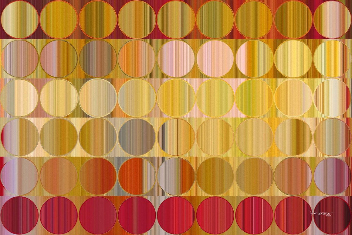 Circles and Squares 57.Golden Red. Signed & Numbered. Original limited edition signed canvas and paper giclees by internationally collected artist Mark Lawrence