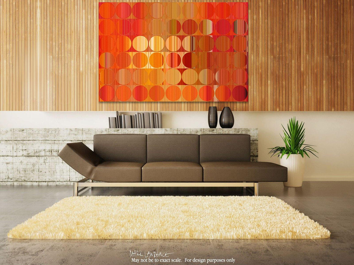 Interior Design Focal Art Inspiration-Circles and Squares 58. Orange Fire. Abstract Fine Art. Limited edition signed canvas and paper giclees by internationally collected artist Mark Lawrence