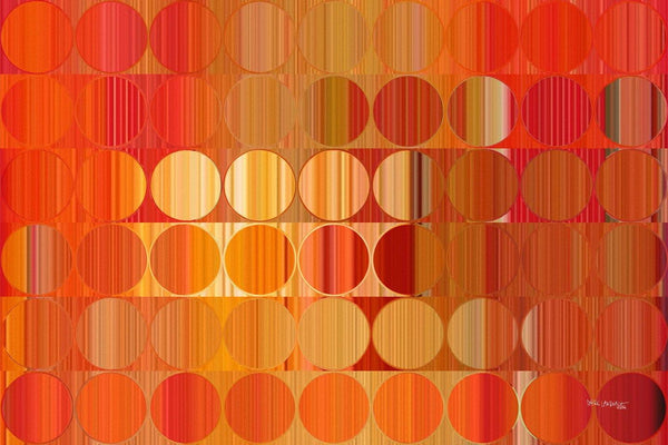 Circles and Squares 58. Orange Fire. Abstract Fine Art. Limited edition signed canvas and paper giclees by internationally collected artist Mark Lawrence