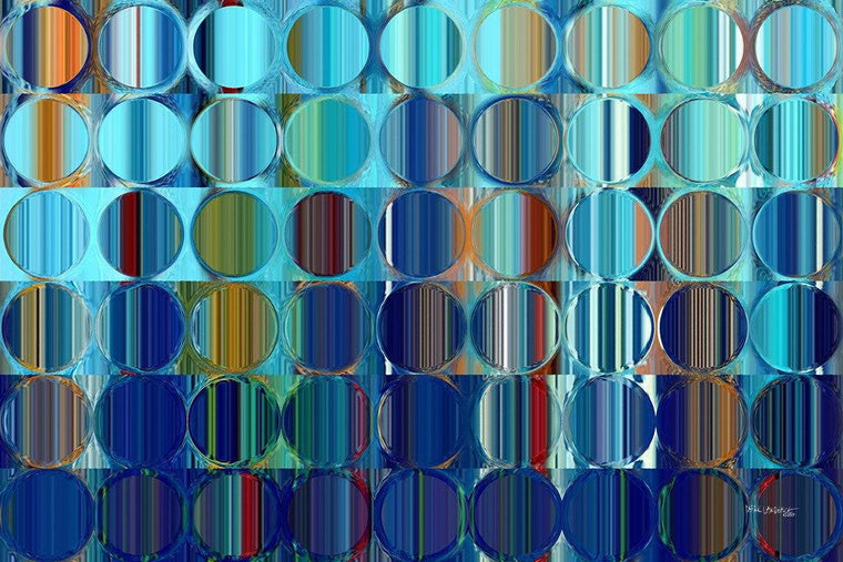 Circles and Squares 59. Blue Orange Drip. Abstract Fine Art. Limited edition signed canvas and paper giclees by internationally collected artist Mark Lawrence