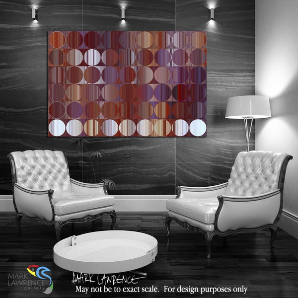 Interior Design Art Inspiration- Circles and Squares 60. Red & Purple Panel. Abstract Fine Art. Limited edition signed canvas and paper giclees by internationally collected artist Mark Lawrence