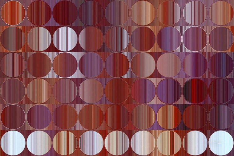 Circles and Squares 60. Red & Purple Panel. Abstract Fine Art. Limited edition signed canvas and paper giclees by internationally collected artist Mark Lawrence