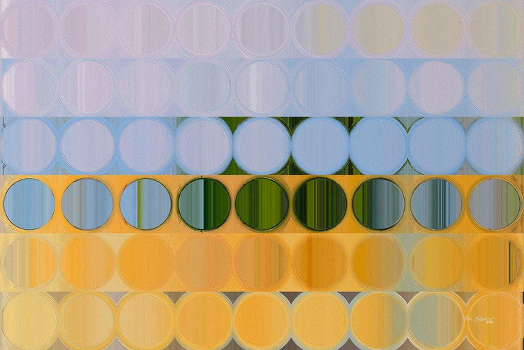 Circles and Squares 61. On The Sunny Side. Abstract Fine Art. Limited edition signed canvas and paper giclees by internationally collected artist Mark Lawrence