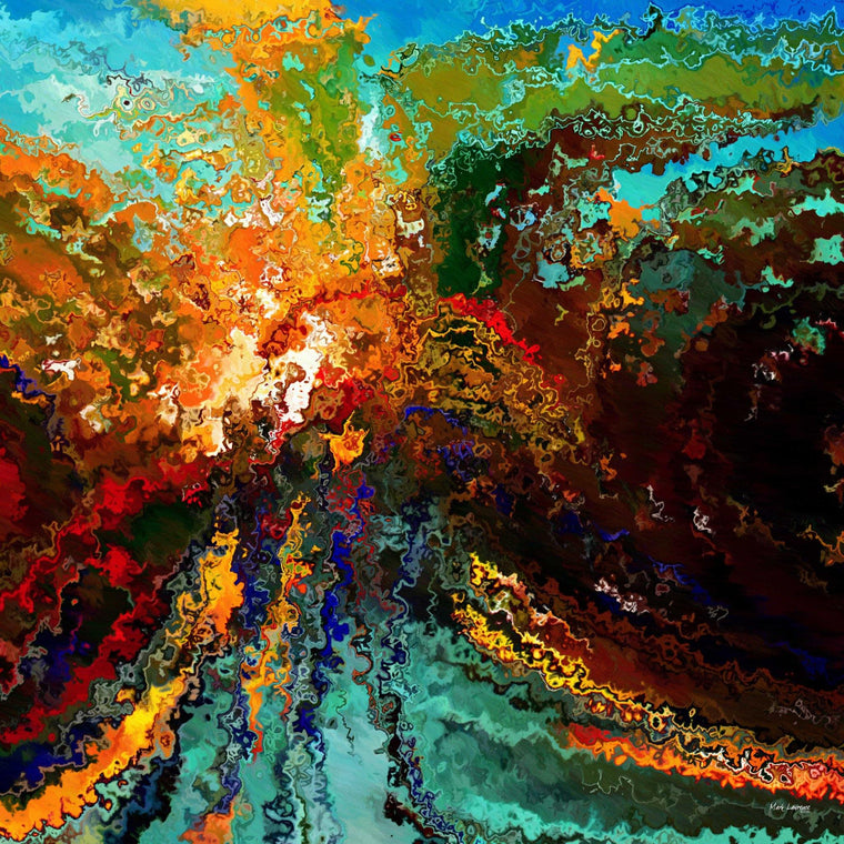 "Christian Art-Genesis 1:1. Painting with Light. Limited Edition Modern Christian Art Signed by Mark Lawrence. Inspiring, big 54""x54"" art on canvas. Ultra hand embellished with rich brush strokes by the artist"
