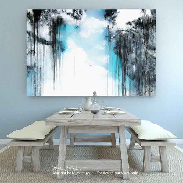 "Interior Design Focal Point Art Inspiration- The Healing Word. Modern Christian Art Signed by Mark Lawrence. Inspiring, big 81""x54"" art on canvas. Ultra hand embellished with brush strokes by the artist"