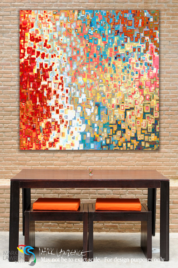 Interior Design Inspiration- Jesus Christ The I AM. John 8:58. Limited Edition. Hand embellished. Signed & numbered colorful modern abstract Christian art. He is dressed in a robe dipped in blood, and his name is the Word of God. Revelation 19:13.