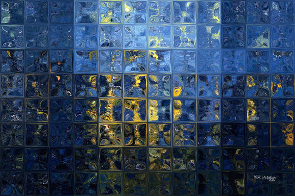Modern Tile Art | Mediterranean Blue | Contemporary Abstract Painting