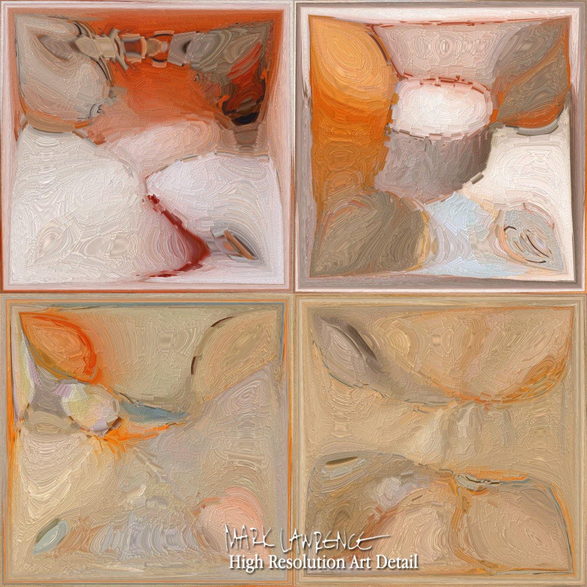 Modern Tile Art | Orange And Beige | Modern Abstract Painting