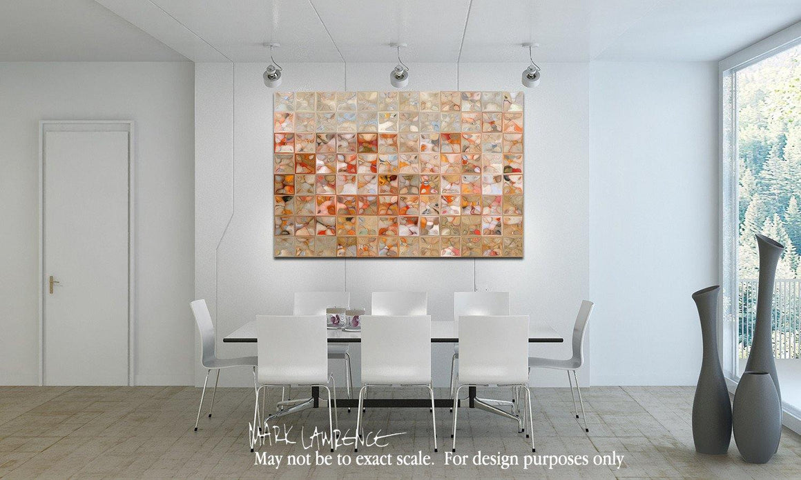Interior Design Focal Point Art Inspiration- Modern Tile Art | Orange And Beige | Modern Abstract Painting