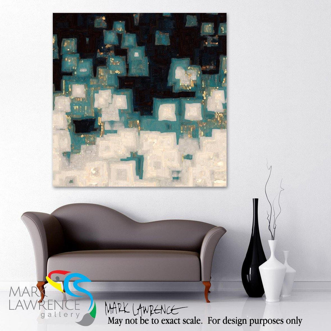 "Interior Design Focal Point Art Inspiration- Limited Edition Modern Christian Art Signed by Mark Lawrence. Inspiring, big 54""x54"" art on canvas. Ultra hand embellished with rich brush strokes by the artist"