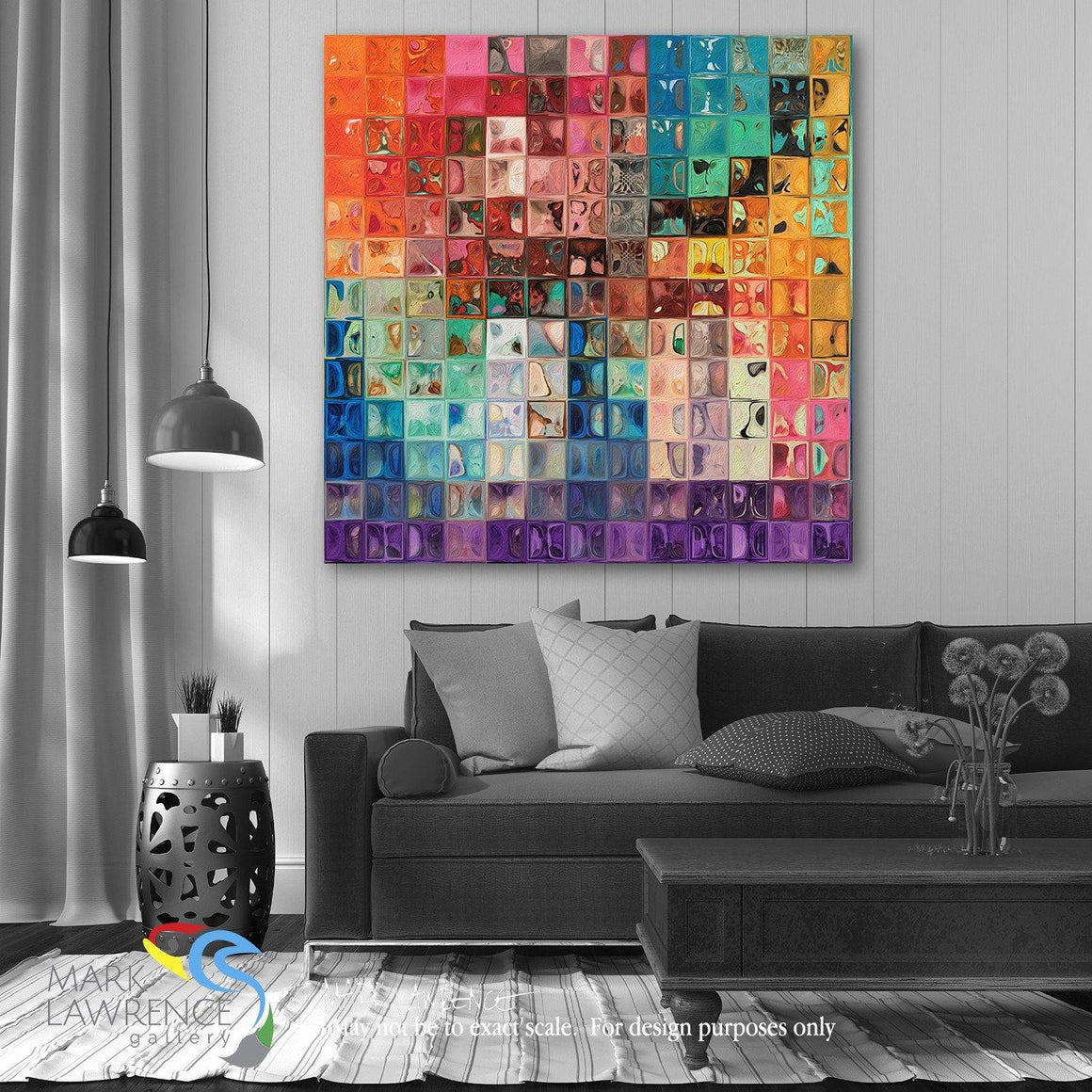 Desigher Room Art Inspiration-Rainbow Refractions Tile Art. Large format Limited Edition focal point art. Hand embellished with brush strokes and heavily textured- signed/numbered modern abstracts.