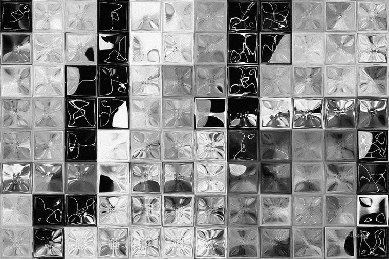 Shades of Gray Tile Mosaic. Limited Edition Modern Art Giclee. Focal Point- Statement Art. Ultra hand embellished with bold heavily textured brush strokes.