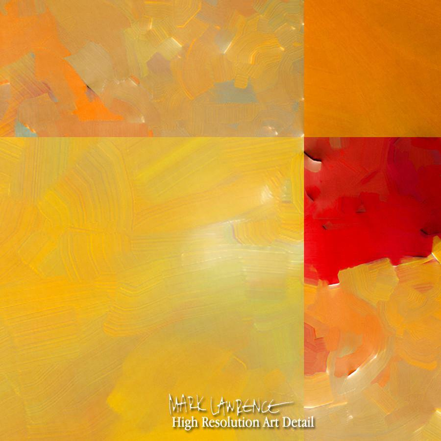 Large Painting Detail- Sunset Abstract Tiles Panoramic. Contemporary abstract art by Mark Lawrence. Original, signed & numbered limited edition signed canvas vivid textured prints