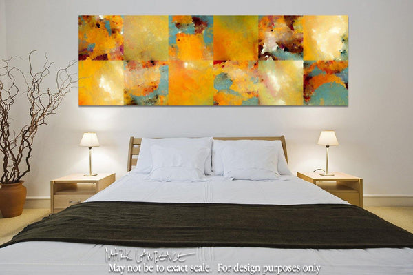 Interior Design Inspiration- Sunset Abstract Tiles Panoramic. Contemporary abstract art by Mark Lawrence. Original, signed & numbered limited edition signed canvas vivid textured prints