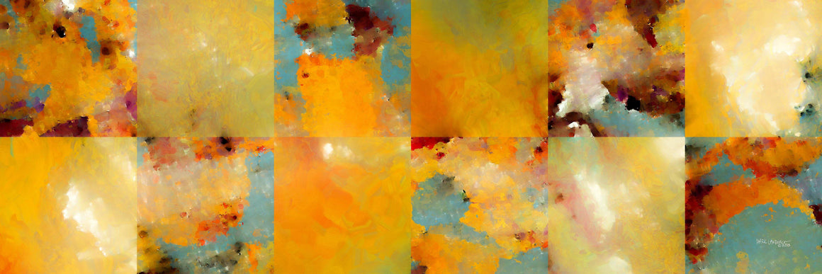 Sunset Abstract Tiles Panoramic. Contemporary abstract art by Mark Lawrence. Original, signed & numbered limited edition signed canvas vivid textured prints