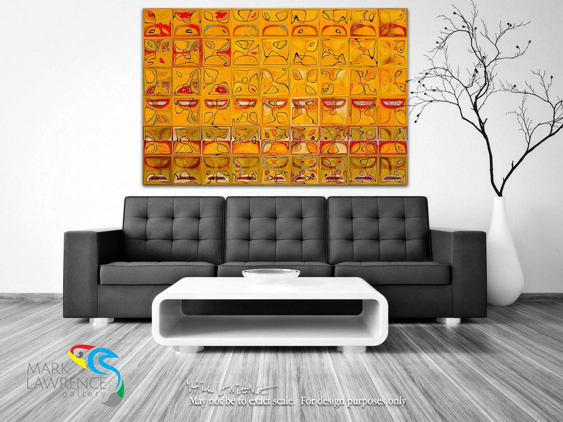 Home Decor Inspiration. Tile Art 3 2016 Aztec Red and Yellow Gold. Abstract Fine Art. Limited edition signed/numbered canvas & paper giclees by internationally collected artist Mark Lawrence