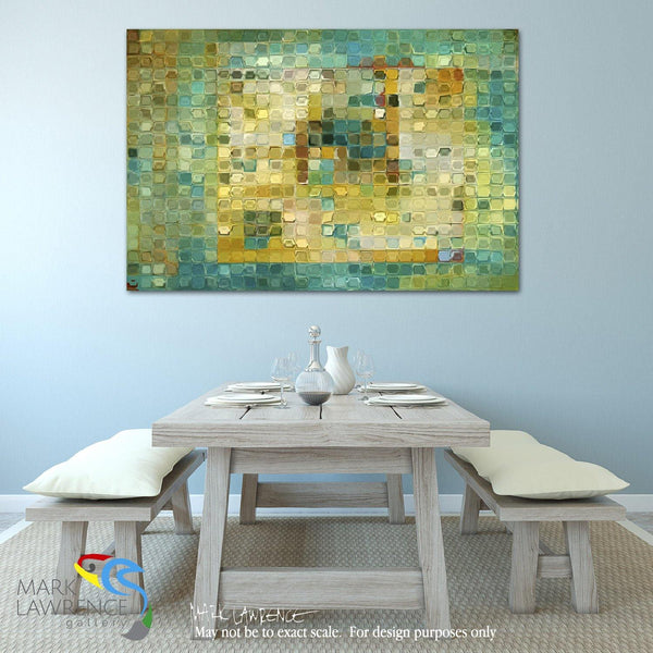 Interior Design Inspiration- Tile Art #5, 2016. Turquoise Gold Mosaic. Traditional Fine Art. Original limited edition signed/numbered canvas & paper giclees by artist Mark Lawrence.