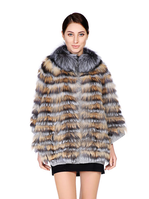 Silver fox & red fox poncho with zipper