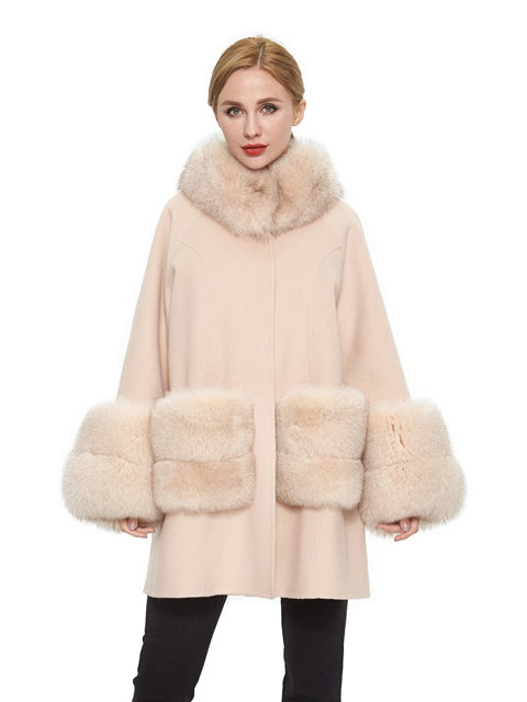 Cashmere blend coat with fox trim