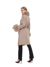 Load image into Gallery viewer, Cashmere blend coat with fox trim