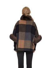 Cashmere blend poncho with fox trim
