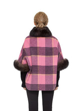 Load image into Gallery viewer, Cashmere blend poncho with fox trim