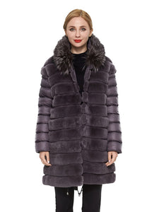 Rex rabbit coat with hood silver fox trim