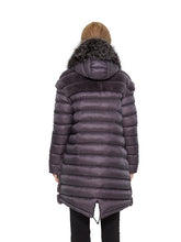 Load image into Gallery viewer, Rex rabbit coat with hood silver fox trim