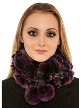 Load image into Gallery viewer, Rex rabbit neck warmer & hat with pom pom