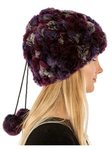 Rex rabbit neck warmer & hat with pom pom
