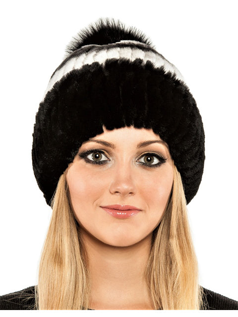 Rex rabbit beanie with fox pom pom